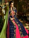 photo of Eid Special Designer Fancy Taffeta Silk Navy Blue And Rani Color Floor Length Anarkali Suit