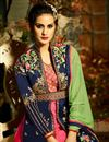 picture of Eid Special Designer Fancy Taffeta Silk Navy Blue And Rani Color Floor Length Anarkali Suit
