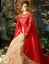 photo of Eid Special Function Wear Designer Red And Beige Taffeta Silk Long Anarkali Salwar Kameez