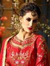 picture of Eid Special Function Wear Designer Red And Beige Taffeta Silk Long Anarkali Salwar Kameez