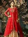 image of Eid Special Function Wear Designer Red And Beige Taffeta Silk Long Anarkali Salwar Kameez