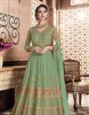 image of Embroidery Work On Sea Green Color Party Wear Floor Length Anarkali Salwar Kameez In Georgette Fabric
