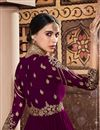 photo of Designer Anarkali Salwar Kameez In Purple Color Georgette Fabric With Embroidery Designs