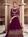 image of Designer Anarkali Salwar Kameez In Purple Color Georgette Fabric With Embroidery Designs