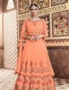 image of Salmon Color Georgette Fabric Festive Wear Anarkali Suit With Embroidery Designs