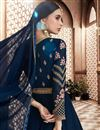 photo of Designer Anarkali Salwar Kameez In Navy Blue Color Georgette Fabric With Embroidery Designs