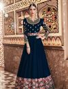 image of Designer Anarkali Salwar Kameez In Navy Blue Color Georgette Fabric With Embroidery Designs