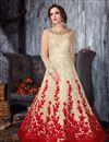 image of Eid Special Beige Net Embroidered Long Floor Length Fancy Anarkali Suit
