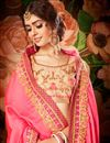 photo of Designer Wedding Wear Fancy Pink And Cream Color Silk And Net Saree With Lace Border