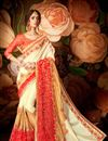image of Designer Party Wear Fancy Cream Color Silk And Net Saree With Lace Border