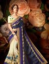 image of Designer Wedding Wear Fancy Grey And Cream Color Silk Saree With Lace Border