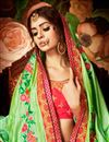 photo of Designer Wedding Wear Fancy Green And Pink Color Silk Saree With Lace Border