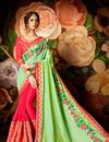 image of Designer Wedding Wear Fancy Green And Pink Color Silk Saree With Lace Border