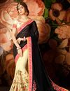image of Party Wear Fancy Black And Cream Color Georgette Embroidered Saree With Lace Border