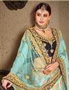 photo of Sangeet Ceremony Wear Satin Sky Blue Embellished Lehenga Choli