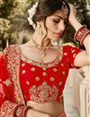 photo of Embroidered Art Silk Fabric Bridal Lehenga In Red Color with Designer Choli