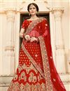 image of Embroidered Art Silk Fabric Bridal Lehenga In Red Color with Designer Choli