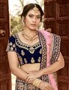 photo of Velvet Fabric Designer Bridal Lehenga With Embroidery Work On Navy Blue Color
