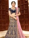 image of Velvet Fabric Designer Bridal Lehenga With Embroidery Work On Navy Blue Color