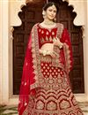 photo of Velvet Fabric Red Color Festive Wear Embroidered Chaniya Choli With Beautiful Blouse