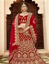 image of Velvet Fabric Red Color Festive Wear Embroidered Chaniya Choli With Beautiful Blouse