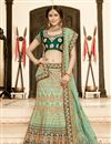 image of Embroidery Work On Wedding Wear Bridal Lehenga In Art Silk Fabric Sea Green Color With Blouse