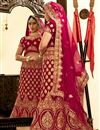 photo of Dark Pink Color Velvet Fabric Sangeet Wear 3 Piece Embroidered Lehenga With Enigmatic Blouse