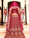 image of Dark Pink Color Velvet Fabric Sangeet Wear 3 Piece Embroidered Lehenga With Enigmatic Blouse