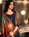 photo of Navy Blue Color Pashmina Solid Kurti With Printed Dupatta