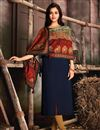 image of Navy Blue Color Pashmina Solid Kurti With Printed Dupatta