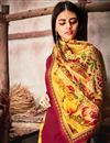 photo of Pashmina Fabric Crimson Color Plain Kurti With Printed Dupatta