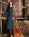 image of Pashmina Fabric Plain Kurti In Teal Color With Printed Dupatta