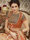 photo of Digital Print On Cream Natural Silk Function Wear Lehenga Choli