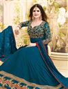 photo of Zarine Khan Georgette Teal Embroidered Anarkali Salwar Suit