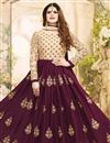 photo of Zarine Khan Georgette Burgundy Embroidered Anarkali Salwar Suit