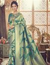 image of Teal Art Silk Designer Wedding Wear Fancy Saree