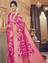 image of Art Silk Rani Color Designer Wedding Wear Fancy Saree