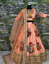 photo of Digital Floral Print Art Silk Pink Lehenga With Work