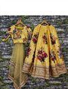 picture of Function Wear Fancy Digital Floral Print Lehenga In Art Silk