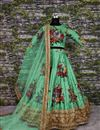 photo of Green Wedding Wear Digital Floral Print Lehenga With Work