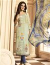 image of Digital Print Churidar Suit In Crepe Fabric Cream