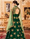 photo of Function Wear Fancy Art Silk Dark Green Long Anarkali Suit