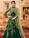 image of Function Wear Fancy Art Silk Dark Green Long Anarkali Suit