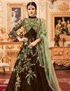 image of Art Silk Embellished Designer Long Anarkali Dress In Brown