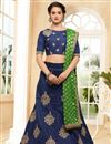 image of Sangeet Wear Navy Blue Embellished Lehenga Choli In Art Silk