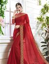 image of Georgette Party Wear Plain Saree In Red With Fancy Blouse