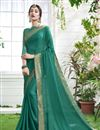 image of Georgette Teal Designer Saree Wth Captivating Blouse
