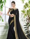 image of Fancy Party Wear Plain Saree In Georgette With Elegant Blouse