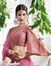 photo of Party Wear Pink Georgette Plain Saree With Fancy Blouse