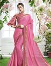 image of Party Wear Pink Georgette Plain Saree With Fancy Blouse